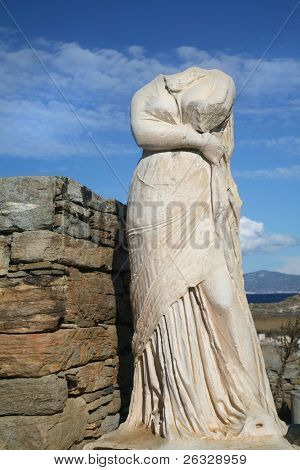 The headless statue of Cleopatra in the ruins of her house on the Greek island of Delos.