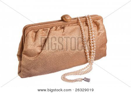 A vintage gold lame evening purse with a triple strand of pearls.