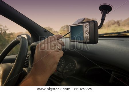 Pocket PC with GPS module attached to the windscreen.
