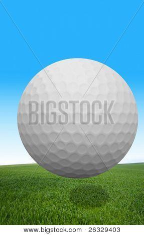 A golf ball flying over grass.