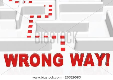 Wrong Way sign and a maze