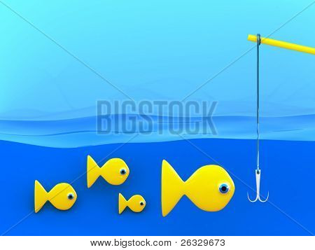 Group of fishes underwater and a fishing-rod.