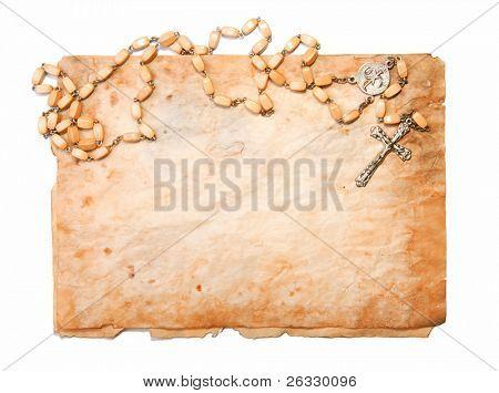 Pergaminho velho e Rosário de madeira