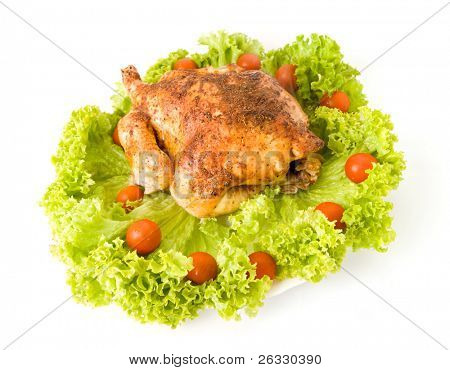 Roasted chicken isolated over white background