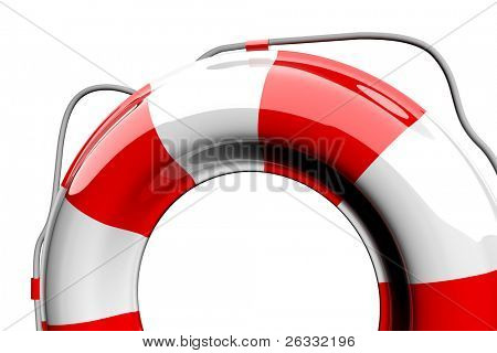 Red and white lifebelt isolated on white