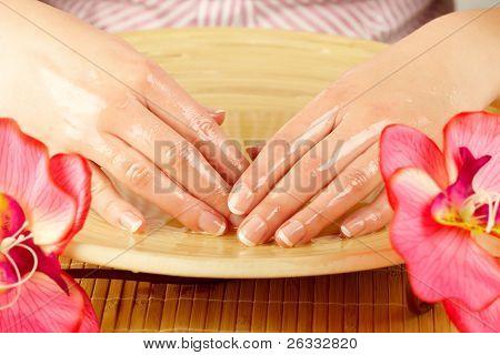 Elegance woman hands on spa treatment