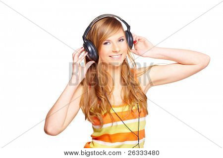 Girl with headphones isolated over white background