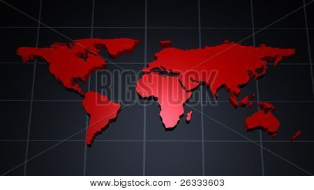 Modern red world map over tiled meridian background