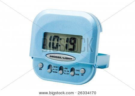 Blue electronic alarm clock isolated on white background