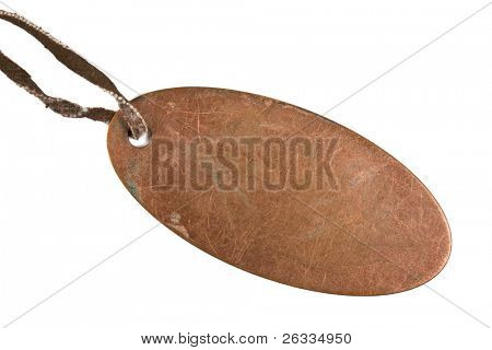 Grunge metal tag with leather strap isolated on  white background