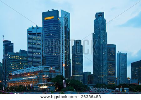 Skyscrapers of Singapore in evening