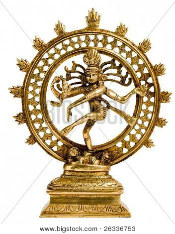 Statue of indian hindu god Shiva Nataraja - Lord of Dance isolated on white