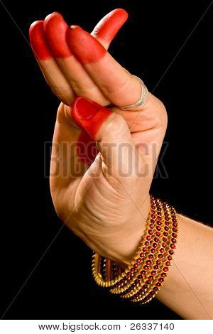 Woman hand showing Chatura hasta  (hand gesture, also called mudra) (meaning