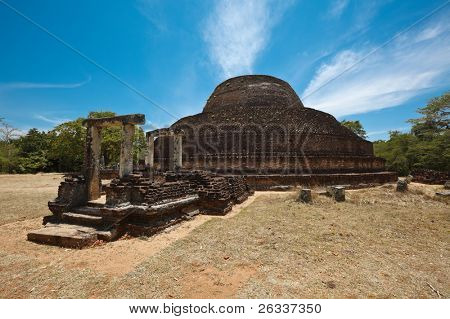 Ancient Buddhist dagoba (stupe) Pabula Vihara. Ancient city of Pollonaruwa, Sri Lanka