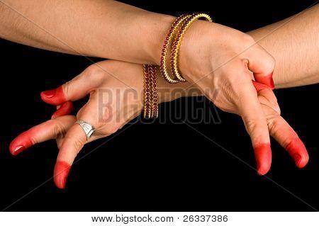 Woman hand showing Kartariswatika hasta of indian classic dance Bharata Natyam