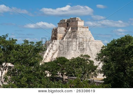 Anicent mayan pyramid (Pyramid of the Magician, Adivino  ) in Uxmal, Mexico