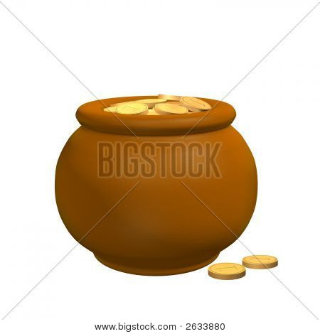 Pot From The Clay, Filled With Gold Coins