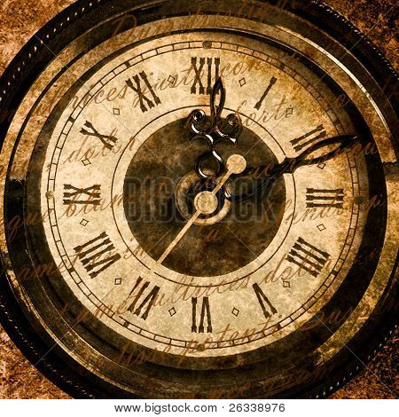Time concept - vintage clock face with grunge texture and old text