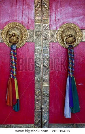 Door handles on gates of Ki monastry. Spiti Valley, Himachal Pradesh, India