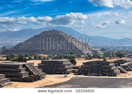 Pyramid of the Sun. Teotihuacan. Mexico. View from the Pyramid of the Moon.
