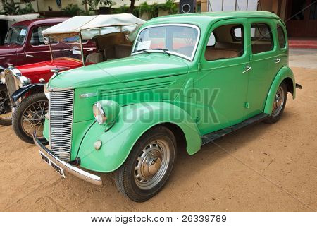 CHENNAI - INDIA - JULY 24: Ford Prefect 1952 (retro vintage car) on Heritage Car Rally 2011 of Madras Heritage Motoring Club at Egmore on July 24, 2011 in Chennai, India