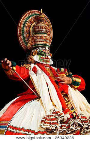 CHENNAI, INDIA - SEPTEMBER 9: Indian traditional dance drama Kathakali preformance on September 9, 2009 in Chennai, India. Actors portray Sita and Ravana (pretending sadhu) characters of Ramayana