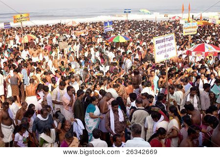 Kerala - July 30: Thousands Of Hindu Pilgrims Gather To Make Offerings To The Dead On July 30, 2011