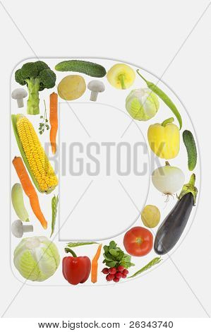 Alphabet of vegetable - D