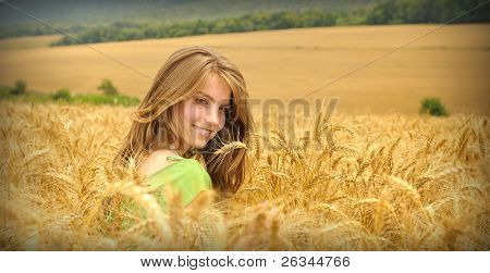girl and wheat field