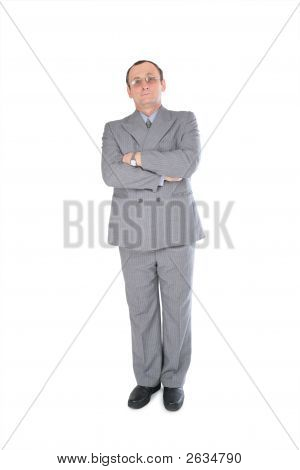 Man In Grey Suit Stands