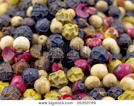 Dried Mixed Peppers white, black, pink, red peppercorns.