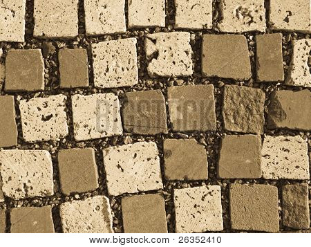 Fragment of a roadway paved cobblestones
