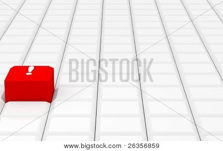 Red key on white background