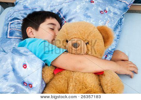 sleeper boy and teddy