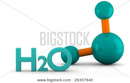 isolated 3D model of water Molecule on a white background