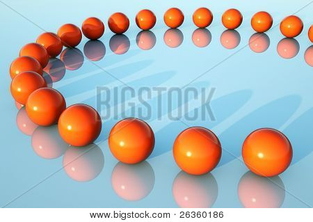Red spheres on blue background
