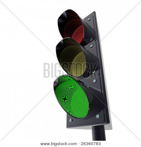 3d Traffic light semaphore on white