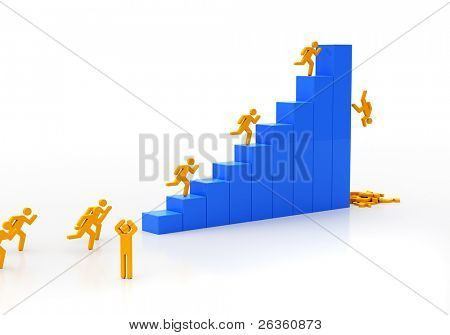 People rising under the diagram and falling on finish