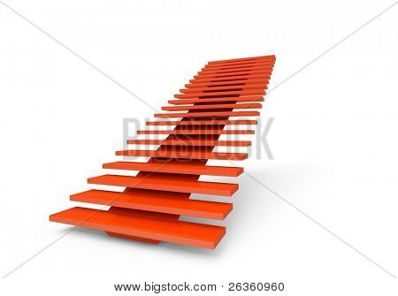 Abstract red 3d ladder steps