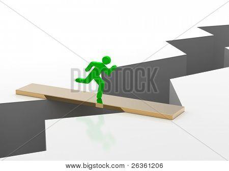 Earth crack bridge end business man