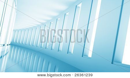 empty 3d corridor with open windows and yellow light
