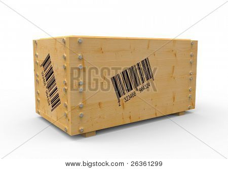 3d wooden box with barcode