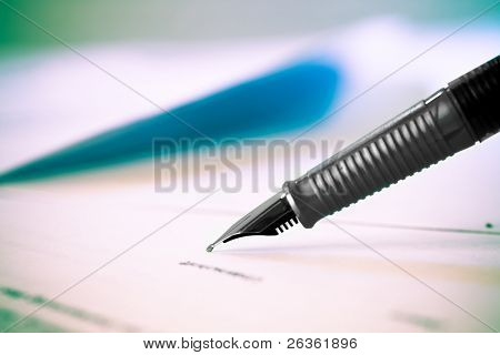 Pen and legal document for sign