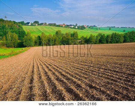 arable field farm and blue summer sky