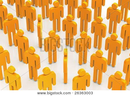 Collective of the stylized yellow plastic little men, parody to office workers