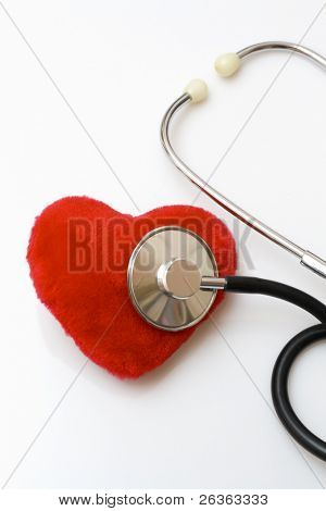 Diagnosing a red velvet heart, Stethoscope diagnosing