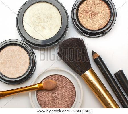 makeup brush and cosmetics
