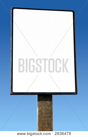 Large White Wooden Advertising Board.