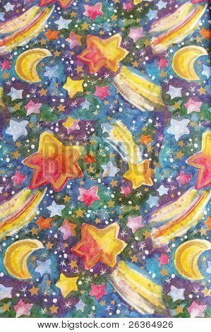colorful wrapping paper, stars comets and moon