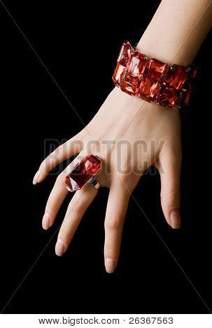 'diamonds are a girl's best friends', diamond bracelet, big ring and earrings